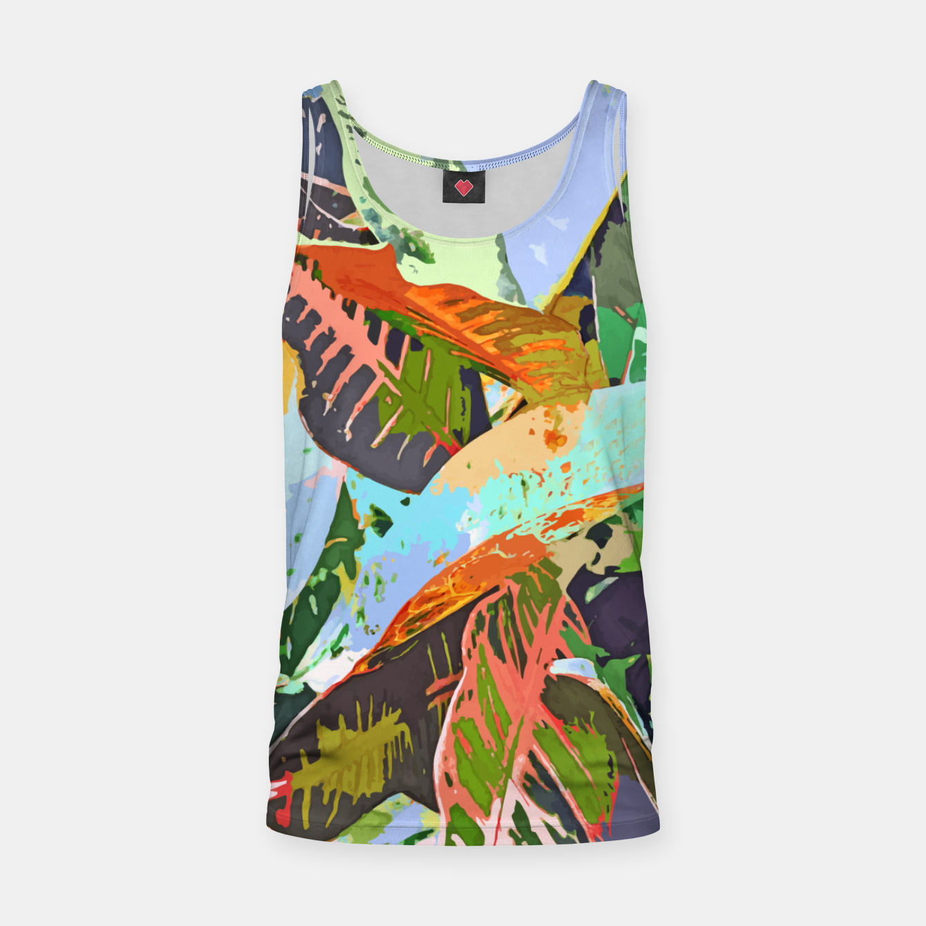 Image of Jungle Plants, Tropical Nature Dark Botanical Illustration, Eclectic Colorful Forest Painting  Tank Top - Live Heroes