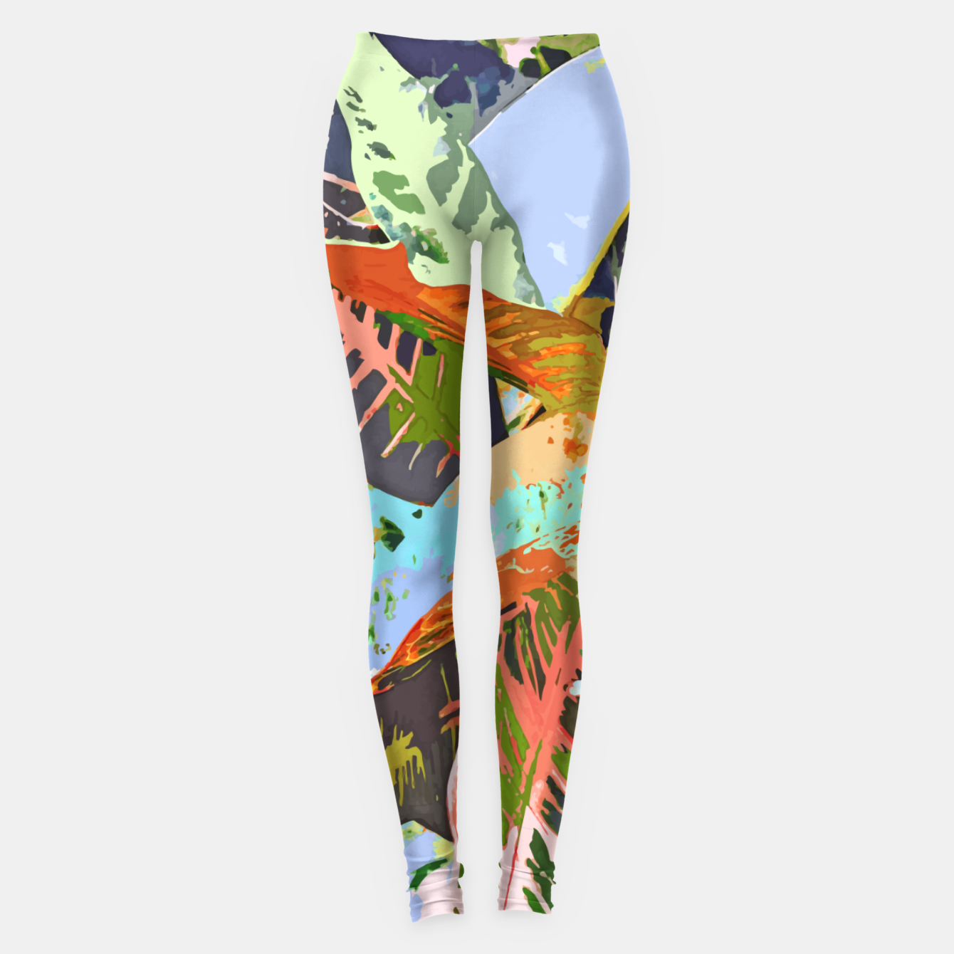 Image of Jungle Plants, Tropical Nature Dark Botanical Illustration, Eclectic Colorful Forest Painting  Leggings - Live Heroes