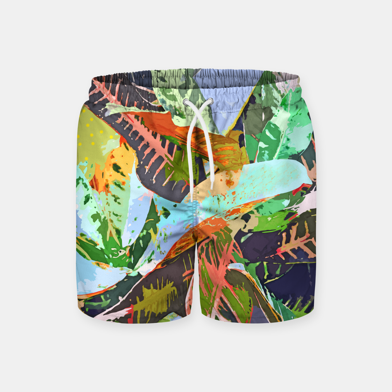 Image of Jungle Plants, Tropical Nature Dark Botanical Illustration, Eclectic Colorful Forest Painting  Swim Shorts - Live Heroes