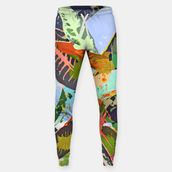 Thumbnail image of Jungle Plants, Tropical Nature Dark Botanical Illustration, Eclectic Colorful Forest Painting  Sweatpants, Live Heroes
