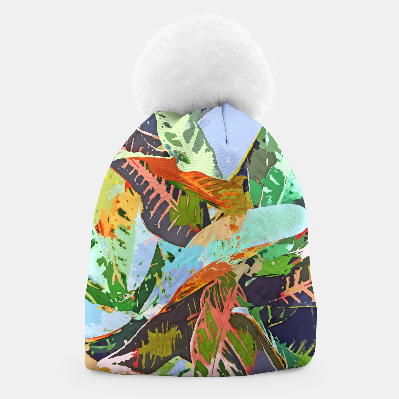 Image of Jungle Plants, Tropical Nature Dark Botanical Illustration, Eclectic Colorful Forest Painting  Beanie - Live Heroes