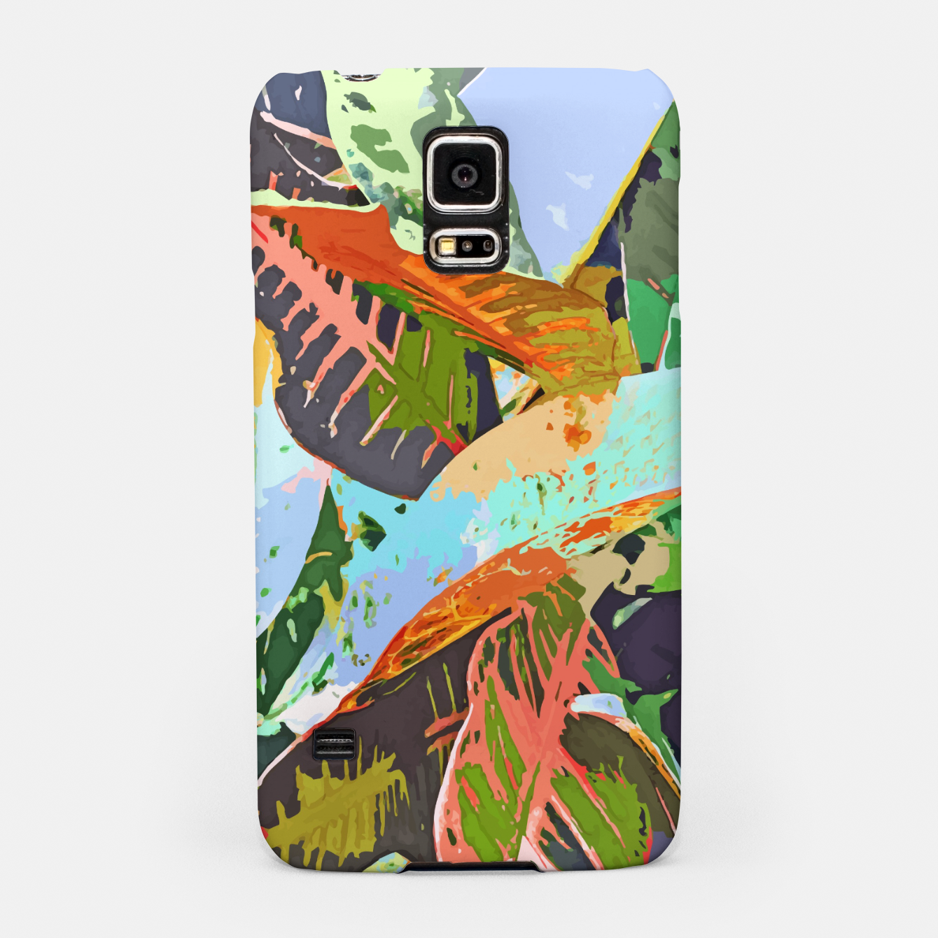 Image of Jungle Plants, Tropical Nature Dark Botanical Illustration, Eclectic Colorful Forest Painting  Samsung Case - Live Heroes