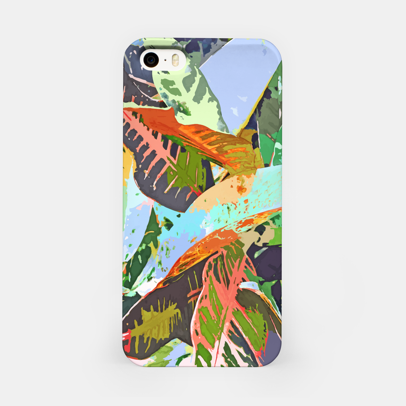 Image of Jungle Plants, Tropical Nature Dark Botanical Illustration, Eclectic Colorful Forest Painting  iPhone Case - Live Heroes
