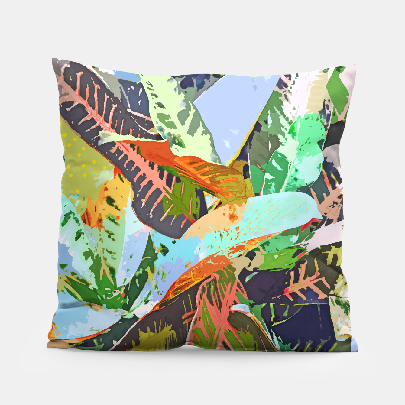 Image of Jungle Plants, Tropical Nature Dark Botanical Illustration, Eclectic Colorful Forest Painting  Pillow - Live Heroes