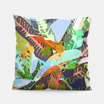 Thumbnail image of Jungle Plants, Tropical Nature Dark Botanical Illustration, Eclectic Colorful Forest Painting  Pillow, Live Heroes