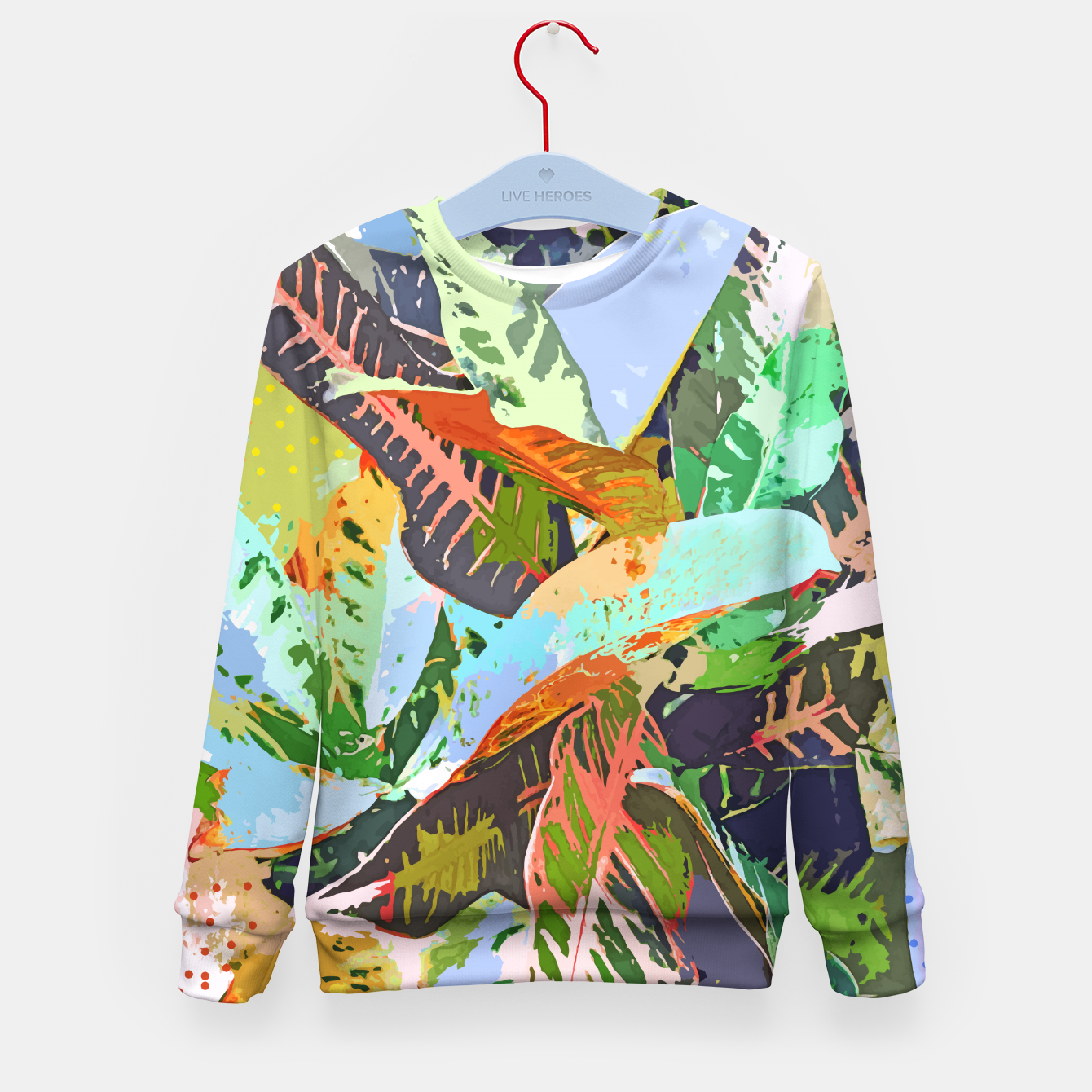 Image of Jungle Plants, Tropical Nature Dark Botanical Illustration, Eclectic Colorful Forest Painting  Kid's sweater - Live Heroes
