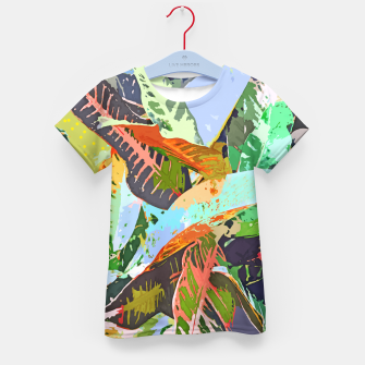 Thumbnail image of Jungle Plants, Tropical Nature Dark Botanical Illustration, Eclectic Colorful Forest Painting  Kid's t-shirt, Live Heroes