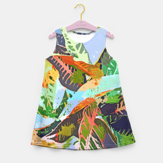 Thumbnail image of Jungle Plants, Tropical Nature Dark Botanical Illustration, Eclectic Colorful Forest Painting  Girl's summer dress, Live Heroes