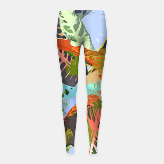 Thumbnail image of Jungle Plants, Tropical Nature Dark Botanical Illustration, Eclectic Colorful Forest Painting  Girl's leggings, Live Heroes