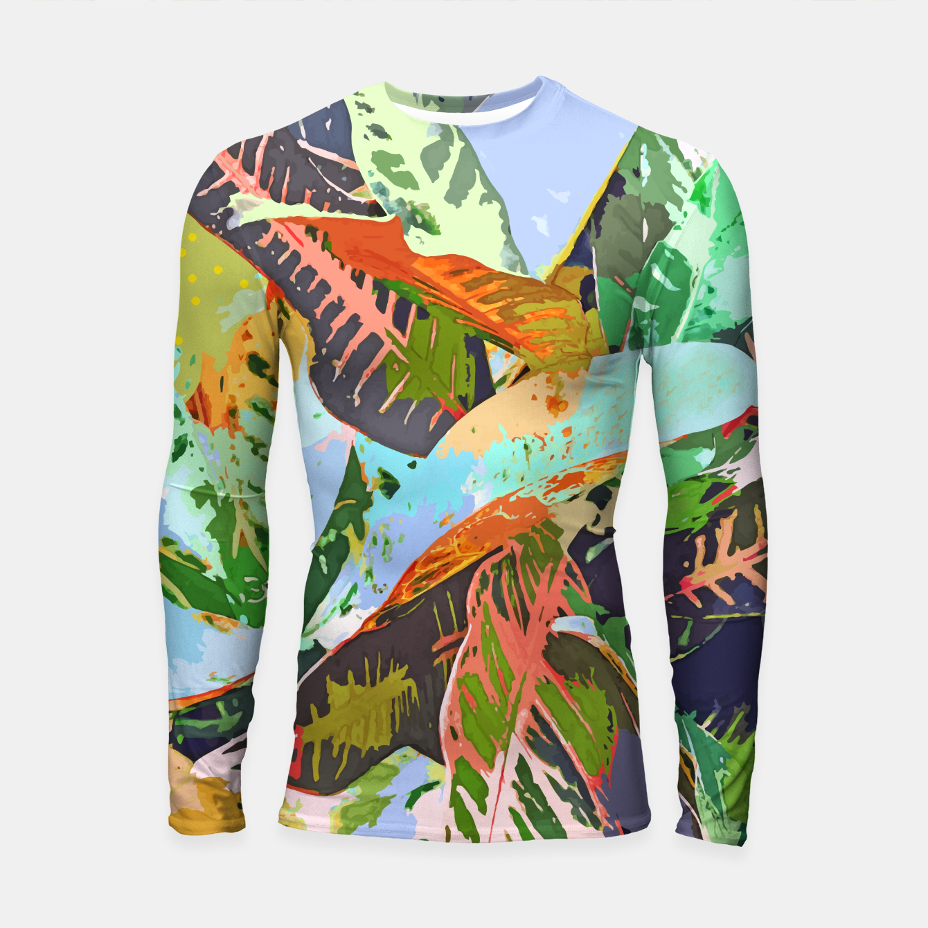 Image of Jungle Plants, Tropical Nature Dark Botanical Illustration, Eclectic Colorful Forest Painting  Longsleeve rashguard  - Live Heroes