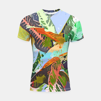 Thumbnail image of Jungle Plants, Tropical Nature Dark Botanical Illustration, Eclectic Colorful Forest Painting  Shortsleeve rashguard, Live Heroes