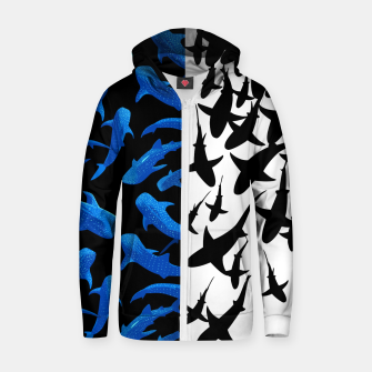 Thumbnail image of Double image of sharks Sudadera con capucha y cremallera , Live Heroes