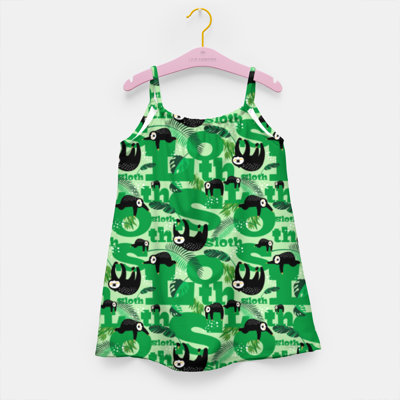Image of Sloths and Typography Girl's dress - Live Heroes