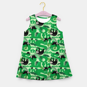 Thumbnail image of Sloths and Typography Girl's summer dress, Live Heroes
