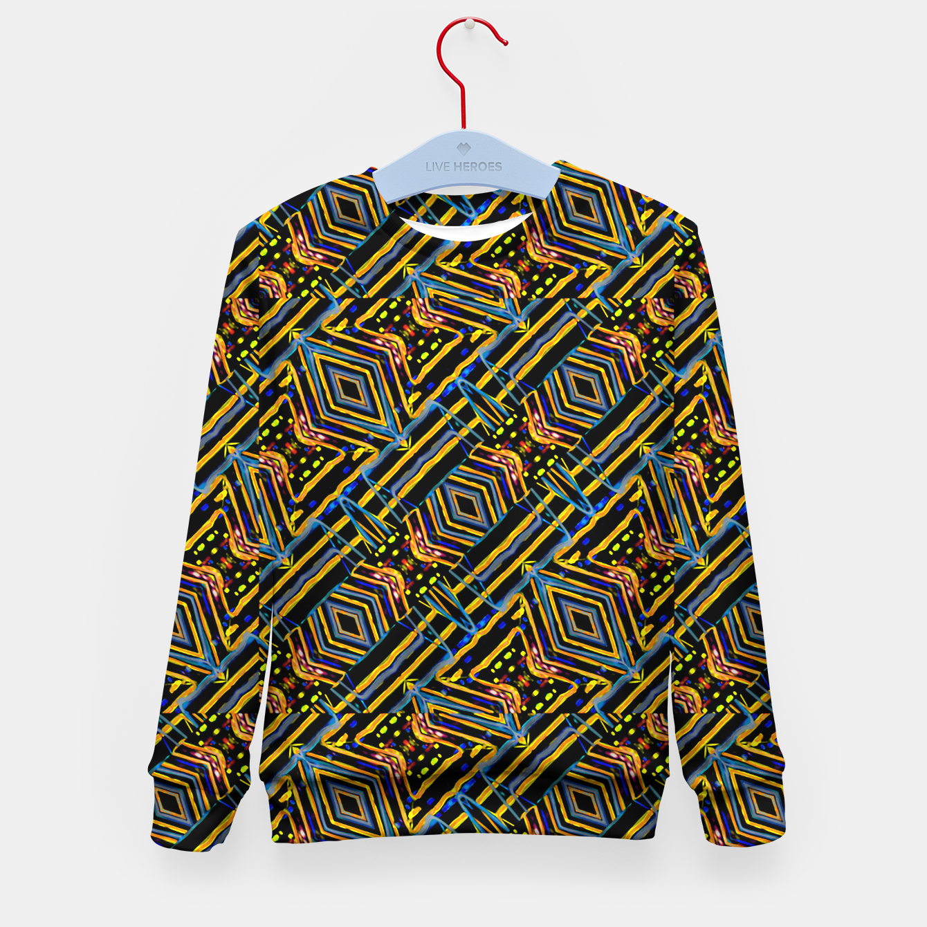Image of Electric Neon Lines Pattern Design Kid's sweater - Live Heroes