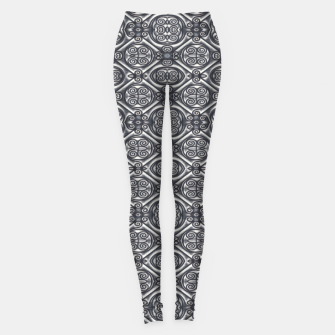 Thumbnail image of Silver Ornate Decorative Seamless Mosaic Leggings, Live Heroes