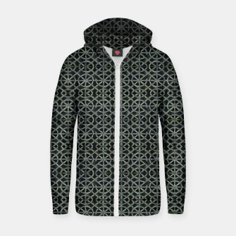 Thumbnail image of Dark Ornament Grid Pattern Zip up hoodie, Live Heroes
