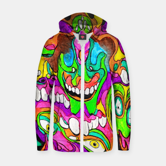 Thumbnail image of Psychedelic Lowbrow Surrealism Zip up hoodie, Live Heroes