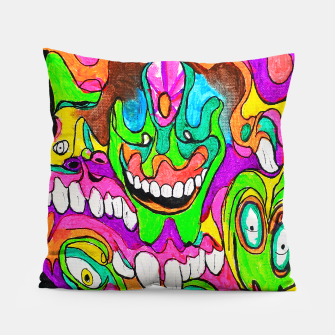 Thumbnail image of Psychedelic Lowbrow Surrealism Pillow, Live Heroes