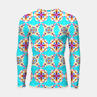 Thumbnail image of Exotic Tiles, Moroccan Teal Kaleidoscope Pattern, Turkish Bohemian Colorful Culture Eclectic Graphic Longsleeve rashguard , Live Heroes
