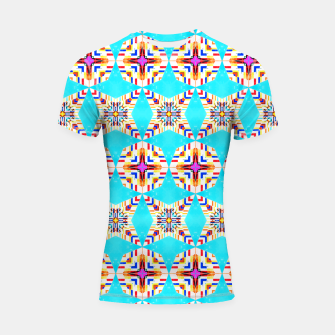 Thumbnail image of Exotic Tiles, Moroccan Teal Kaleidoscope Pattern, Turkish Bohemian Colorful Culture Eclectic Graphic Shortsleeve rashguard, Live Heroes