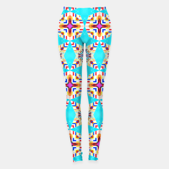 Thumbnail image of Exotic Tiles, Moroccan Teal Kaleidoscope Pattern, Turkish Bohemian Colorful Culture Eclectic Graphic Leggings, Live Heroes