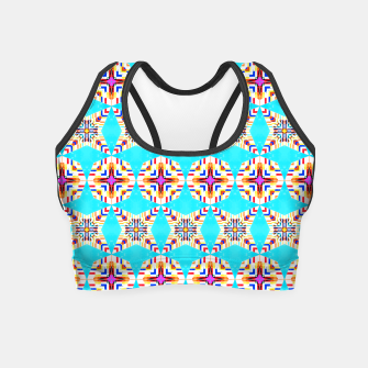 Thumbnail image of Exotic Tiles, Moroccan Teal Kaleidoscope Pattern, Turkish Bohemian Colorful Culture Eclectic Graphic Crop Top, Live Heroes