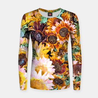 Thumbnail image of Summer Sunflowers, Modern Bohemian Urban Jungle Painting, Botanical Floral Blush Garden Nature Women sweater, Live Heroes