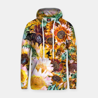 Thumbnail image of Summer Sunflowers, Modern Bohemian Urban Jungle Painting, Botanical Floral Blush Garden Nature Hoodie, Live Heroes