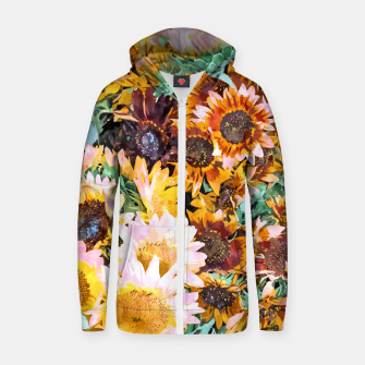 Thumbnail image of Summer Sunflowers, Modern Bohemian Urban Jungle Painting, Botanical Floral Blush Garden Nature Zip up hoodie, Live Heroes