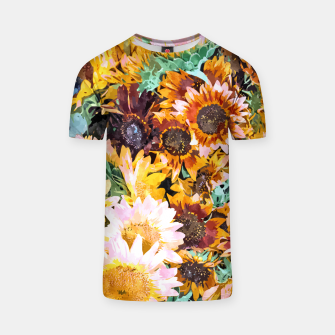 Thumbnail image of Summer Sunflowers, Modern Bohemian Urban Jungle Painting, Botanical Floral Blush Garden Nature T-shirt, Live Heroes