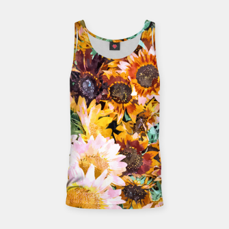 Thumbnail image of Summer Sunflowers, Modern Bohemian Urban Jungle Painting, Botanical Floral Blush Garden Nature Tank Top, Live Heroes
