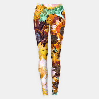 Thumbnail image of Summer Sunflowers, Modern Bohemian Urban Jungle Painting, Botanical Floral Blush Garden Nature Leggings, Live Heroes