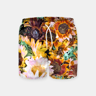 Thumbnail image of Summer Sunflowers, Modern Bohemian Urban Jungle Painting, Botanical Floral Blush Garden Nature Swim Shorts, Live Heroes