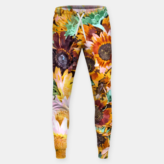 Thumbnail image of Summer Sunflowers, Modern Bohemian Urban Jungle Painting, Botanical Floral Blush Garden Nature Sweatpants, Live Heroes