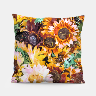 Thumbnail image of Summer Sunflowers, Modern Bohemian Urban Jungle Painting, Botanical Floral Blush Garden Nature Pillow, Live Heroes