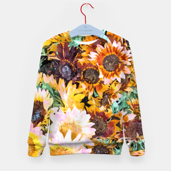 Thumbnail image of Summer Sunflowers, Modern Bohemian Urban Jungle Painting, Botanical Floral Blush Garden Nature Kid's sweater, Live Heroes
