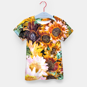 Thumbnail image of Summer Sunflowers, Modern Bohemian Urban Jungle Painting, Botanical Floral Blush Garden Nature Kid's t-shirt, Live Heroes