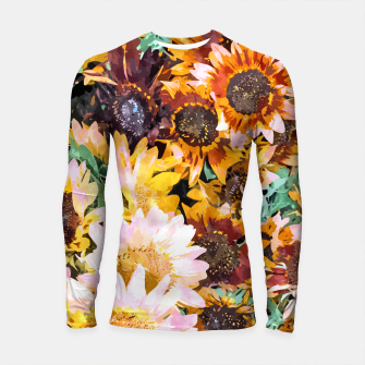 Thumbnail image of Summer Sunflowers, Modern Bohemian Urban Jungle Painting, Botanical Floral Blush Garden Nature Longsleeve rashguard , Live Heroes