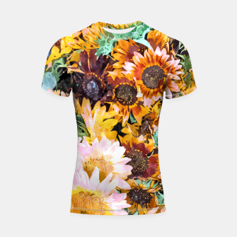 Thumbnail image of Summer Sunflowers, Modern Bohemian Urban Jungle Painting, Botanical Floral Blush Garden Nature Shortsleeve rashguard, Live Heroes