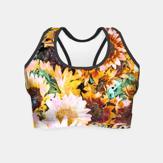 Thumbnail image of Summer Sunflowers, Modern Bohemian Urban Jungle Painting, Botanical Floral Blush Garden Nature Crop Top, Live Heroes