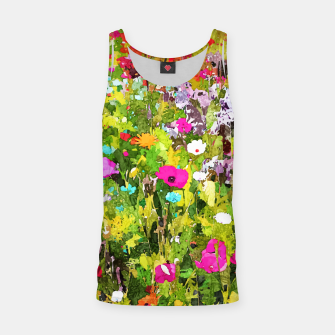 Miniatur Meadow Flowers, Botanical Nature Landscape Painting, Colorful Bohemian Vibrant Floral Blossom Garden Tank Top, Live Heroes