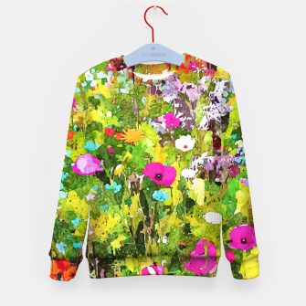 Miniaturka Meadow Flowers, Botanical Nature Landscape Painting, Colorful Bohemian Vibrant Floral Blossom Garden Kid's sweater, Live Heroes