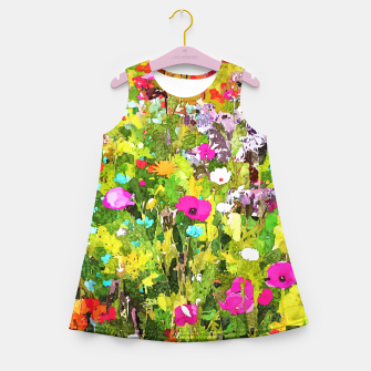 Miniaturka Meadow Flowers, Botanical Nature Landscape Painting, Colorful Bohemian Vibrant Floral Blossom Garden Girl's summer dress, Live Heroes