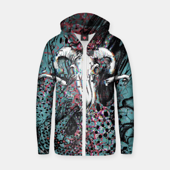 Thumbnail image of Horns Glitch Zip up hoodie, Live Heroes