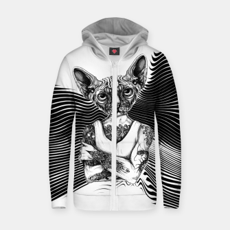Miniatur Tattoed Sphynx BW Zip up hoodie, Live Heroes