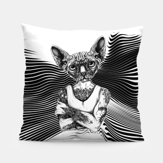 Miniatur Tattoed Sphynx BW Pillow, Live Heroes