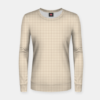 Thumbnail image of Small rust grid pattern on beige Women sweater, Live Heroes