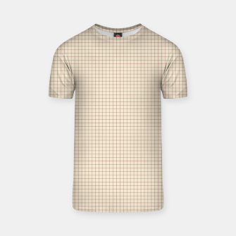 Thumbnail image of Small rust grid pattern on beige T-shirt, Live Heroes