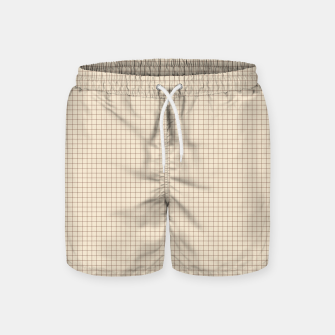 Thumbnail image of Small rust grid pattern on beige Swim Shorts, Live Heroes